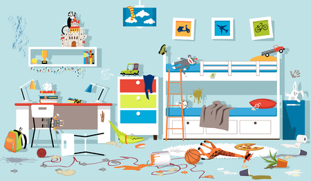 clutter filled child's bedroom in a state of chaos
