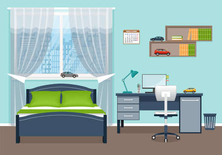 simplified, minimalist bedroom conducive  for study and rest